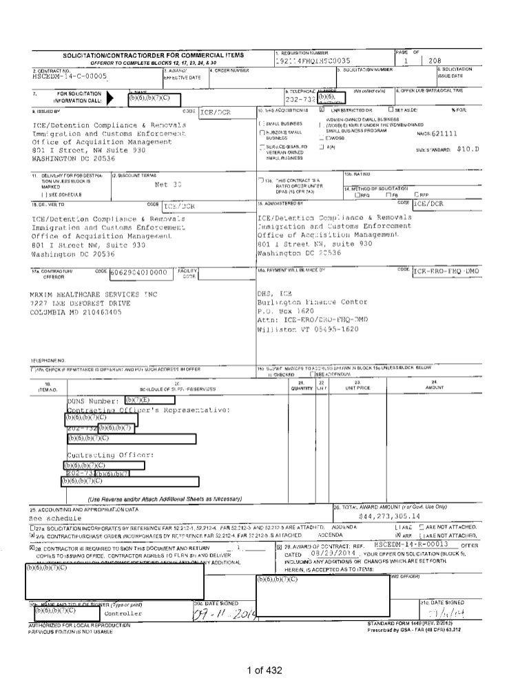 Dilley Children Jail Medical Services Contracts