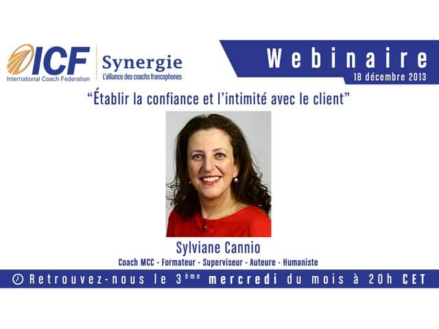 """ICF Synergie : """"Etablir la confiance et l'intimité avec le client"""" de Sylviane Cannio - SLIDEs"""