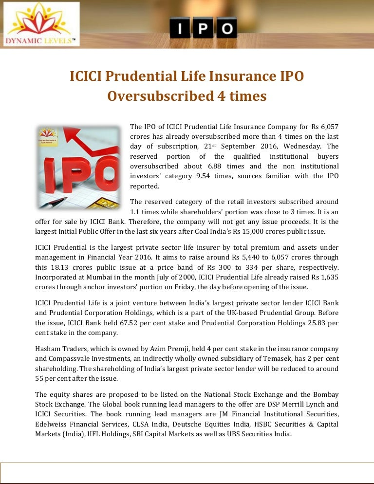 ICICI Prudential Life Insurance IPO Oversubscribed 4 times