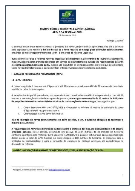 ICONE - O Novo Código Florestal e a proteção das APPs e da Reserva Legal