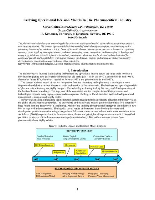 Evolving Operational Business Model in Pharmaceutical Industry