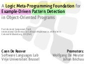 A Logic Meta-Programming Foundation for Example-Driven Pattern Detection in Object-Oriented Programs