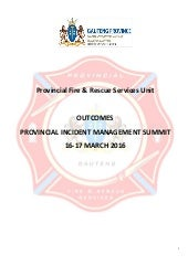 Gauteng Provincial Incident Management Summit