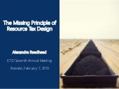 ICTD Annual Lecture: The Missing Principle of Resource Tax Design