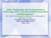 Role of ICTs in Environmental Conservation Management