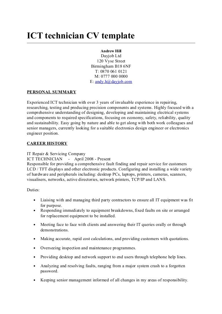 ict technician cv template