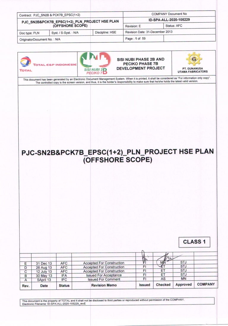 Id Spa All 2020 105229 Rev E Project Hse Plan Offshore Scope 31 Dec
