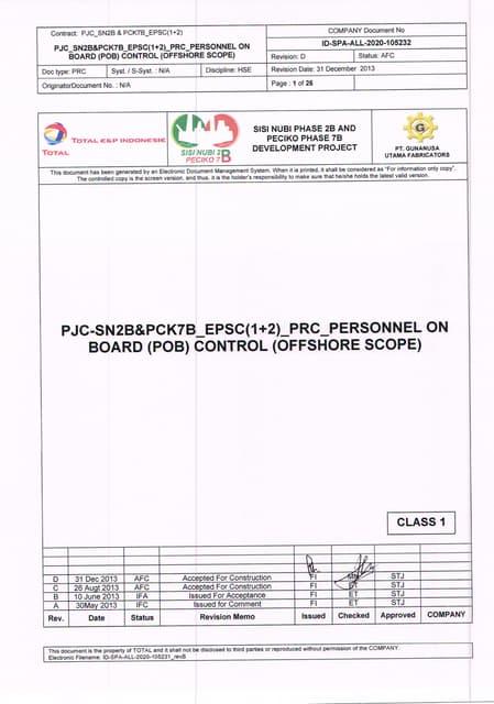 Id spa-all-2020-105232 rev.d personnel on board (pob) control (offshore scope)-31 dec 2013