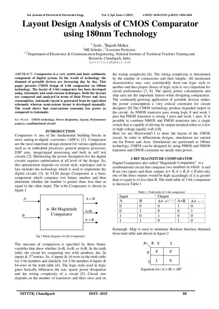 Layout Design Analysis Of Cmos Comparator Using 180nm Technology 1 Bit Logic Diagram Id108 150526192233 Lva1 App6891 Thumbnail 4cb1432668241