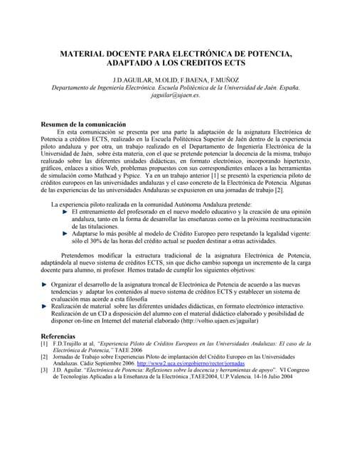 TAEE 2008:MATERIAL DOCENTE PARA ELECTRÓNICA DE POTENCIA, ADAPTADO A LOS CREDITOS ECTS