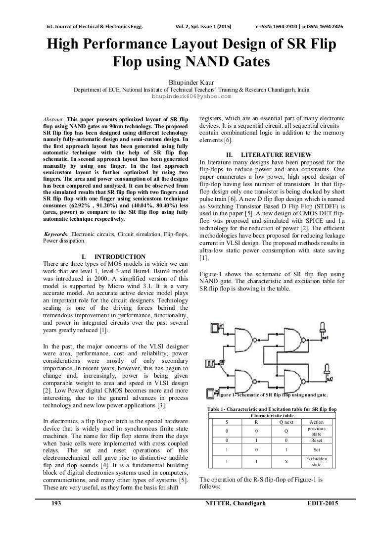 High Performance Layout Design Of Sr Flip Flop Using Nand Gates Circuit Diagram Gate Id61 150525194139 Lva1 App6891 Thumbnail 4cb1432583485