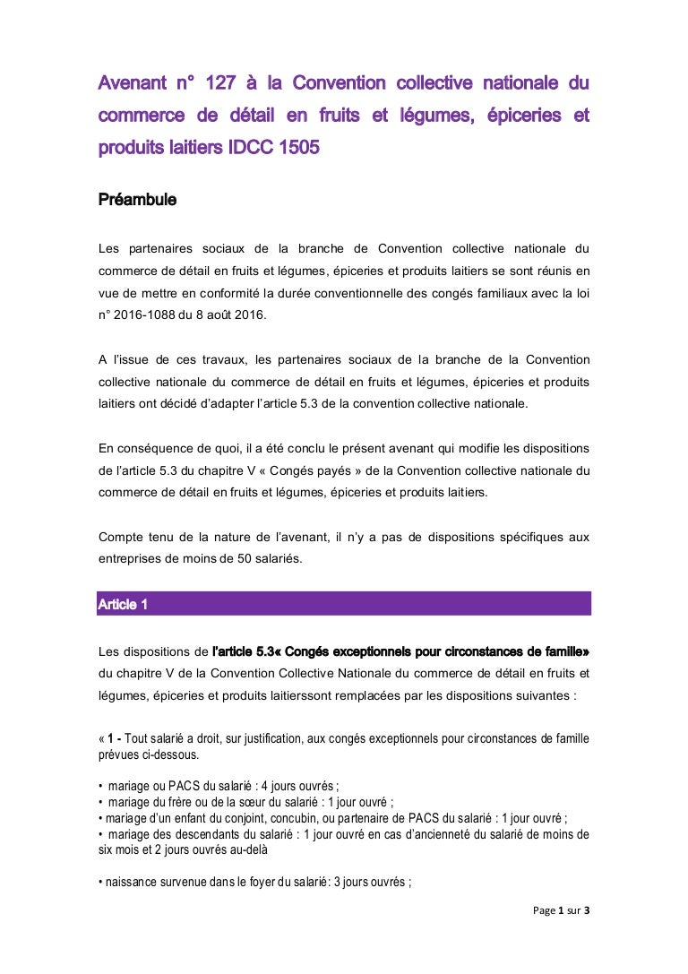 Idcc 1505 Avenant Conges Payes