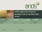 ANDS Applications Program: Building Tools to Facilitate Data Reuse