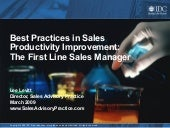 IDC First Line Sales Manager Best Practices