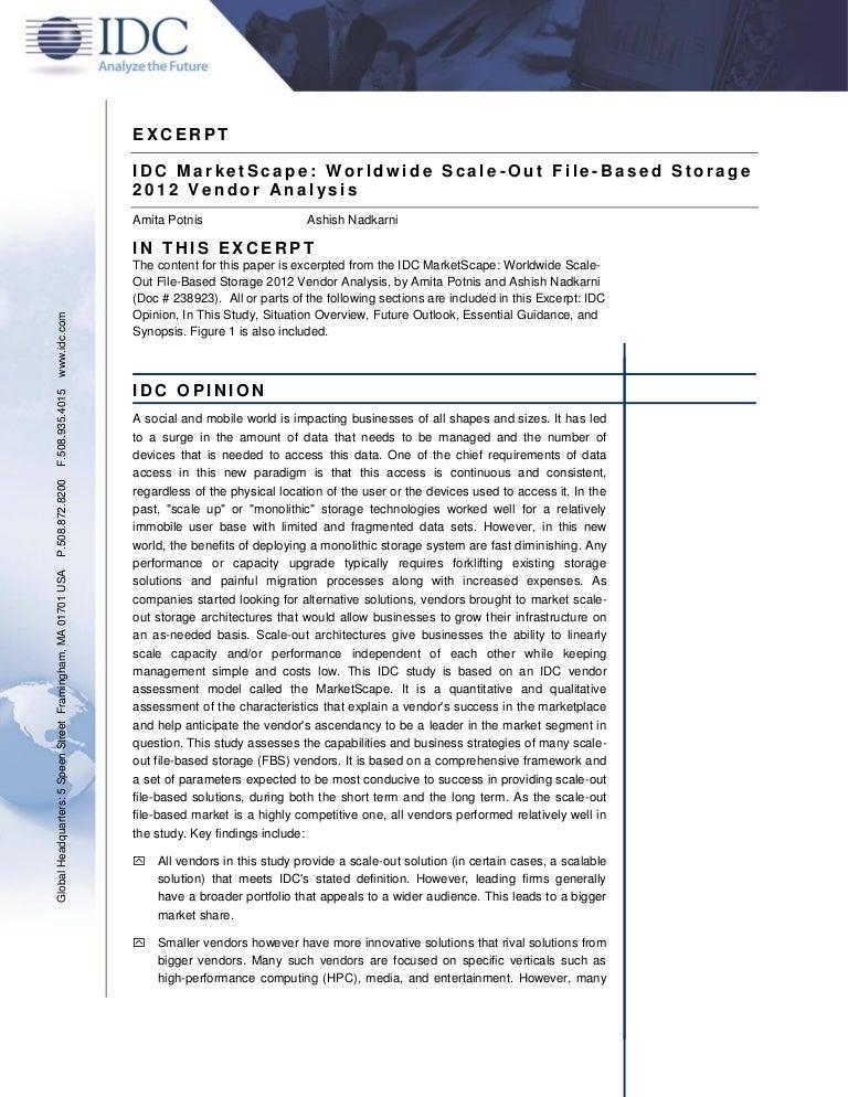 Idc Marketscape Worldwide Scale Out File Based Storage 2012 Vendor Anu2026