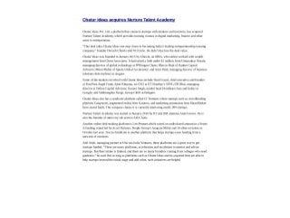 Chatur Ideas acquires Nurture Talent Academy