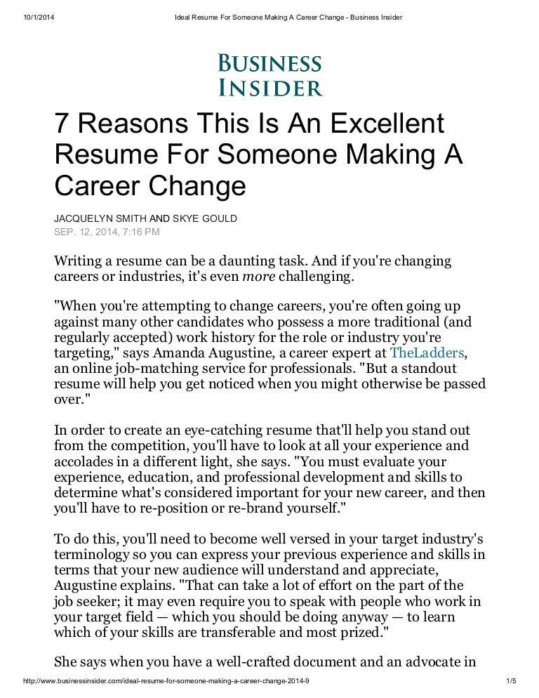 ideal resume for someone making a career change business insider