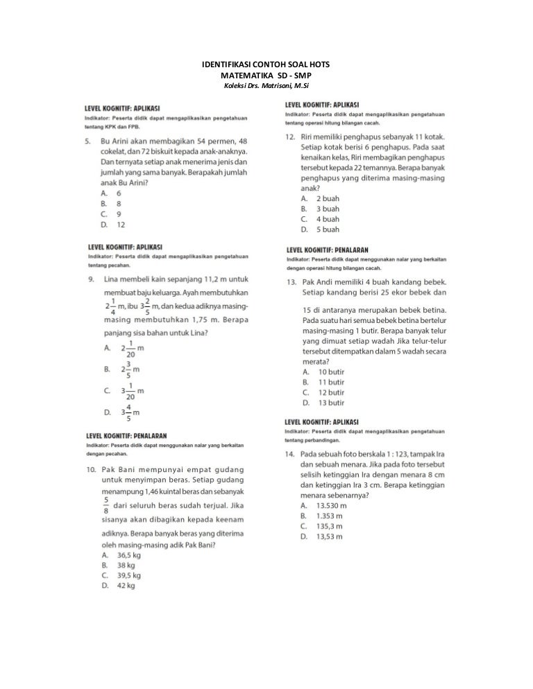 Contoh Soal Hots Sd Kelas 3 Semester 1 Ilmu Pengetahuan 9