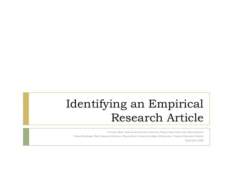 Identifying An Empirical Research Article