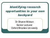 Sharon Mickan: Identifying Research Opportunities In Your Own Backyard