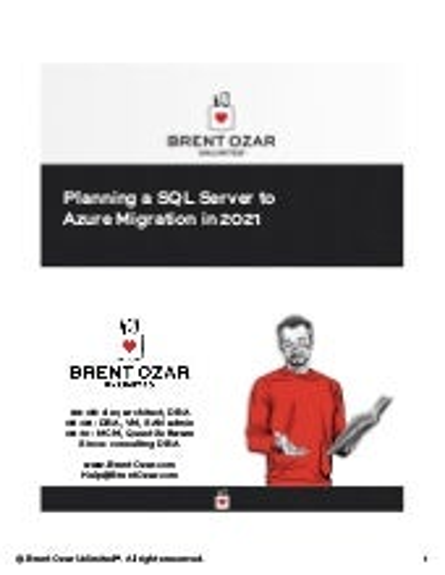 Geek Sync | Planning a SQL Server to Azure Migration in 2021 - Brent Ozar