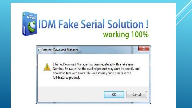 lỗi internet download manager has been registered with a counterfeit serial number