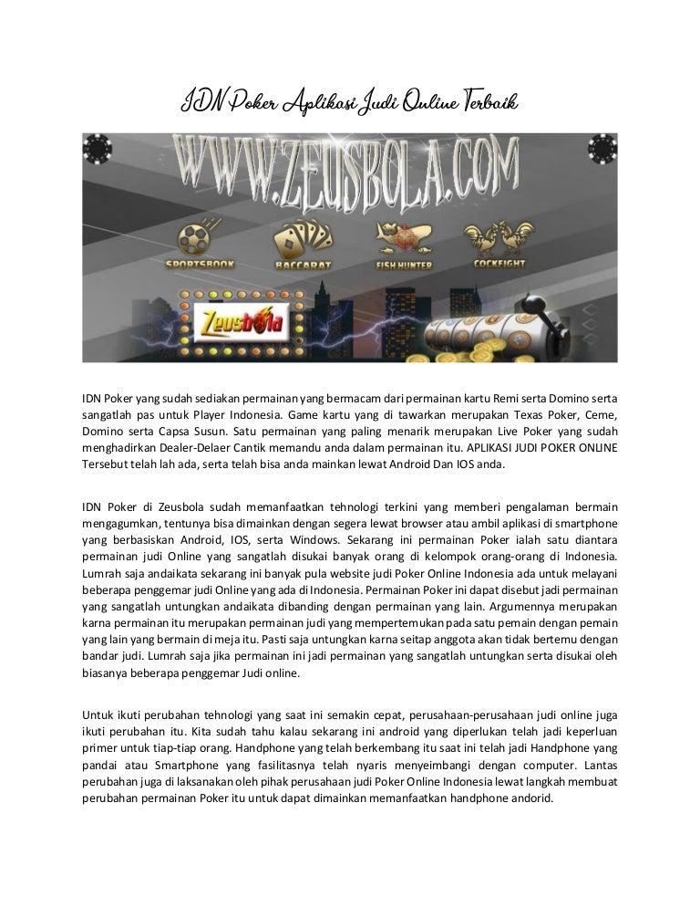 Idn Poker Aplikasi Judi Online Teraman