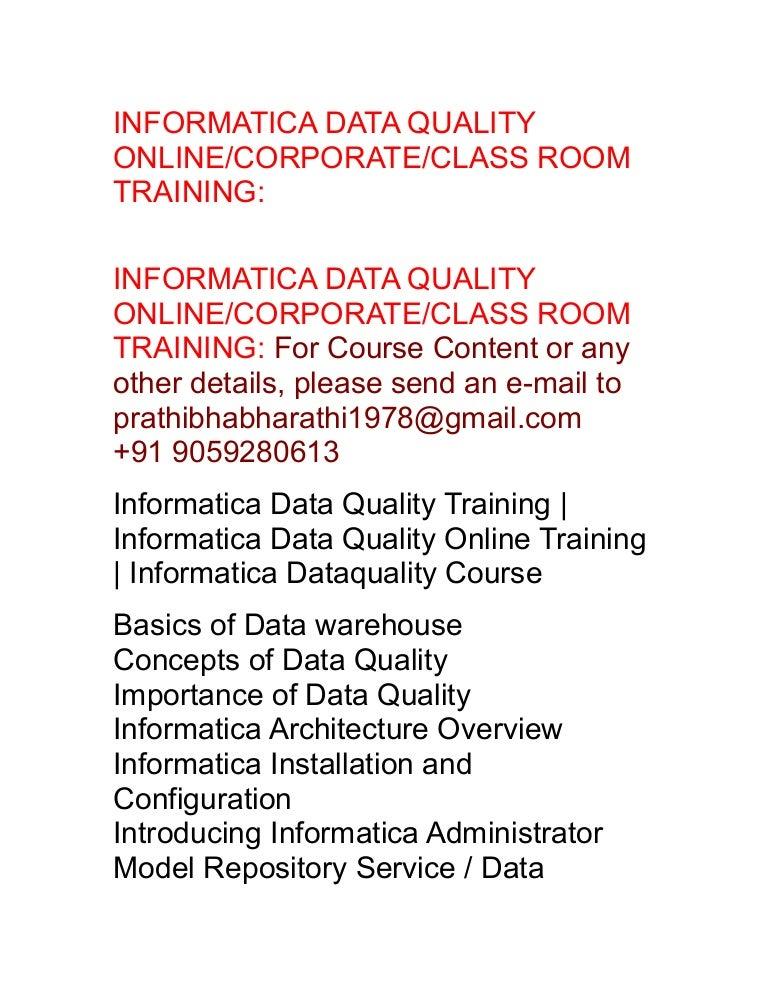 IDQ Online Training|Informatica Data Quality OnlineTraining|Informati…