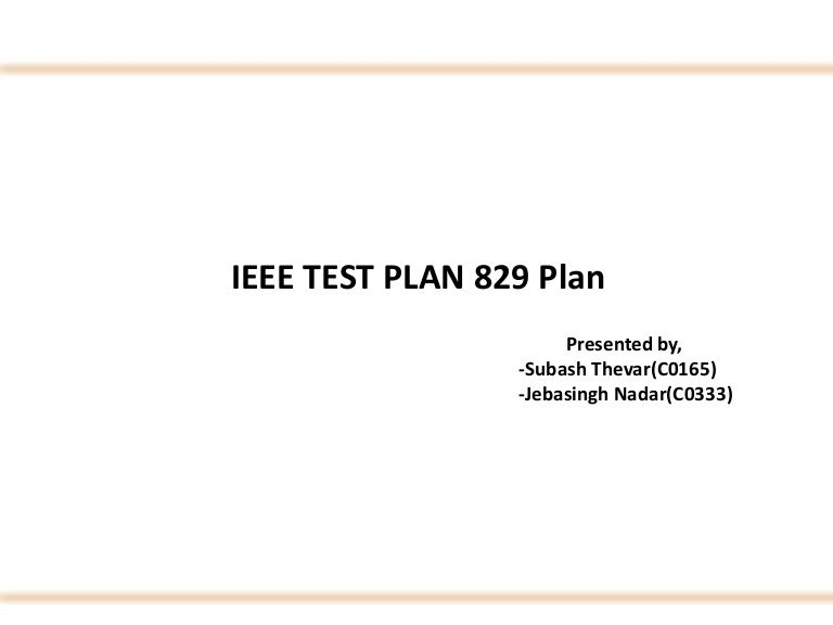 IEEE Software Testing Test Cases on \