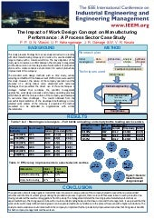 """IEEM 2011 - Poster Presentation of """"Impact of Work Design Concept on Manufacturing Performance"""""""