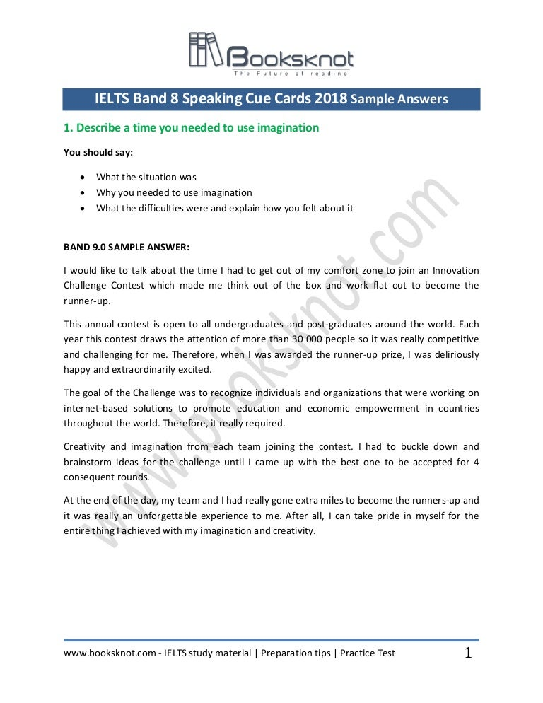Ielts band 8 speaking 92 cue cards 2018 sample answers