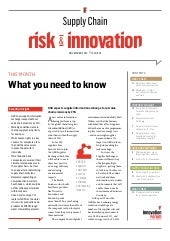 Supply Chain Risk & Innovation - Sustainability analysis by Innovation Forum