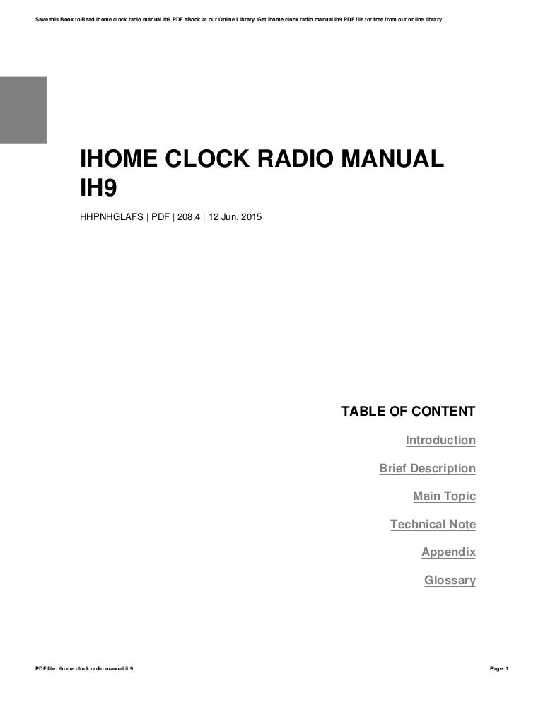 Ihome clock-radio-manual-ih9