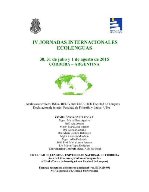 3era Circular Jornada Ecolenguas IV