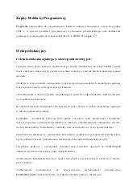 Poziomy II i III - cele formy kształcenia
