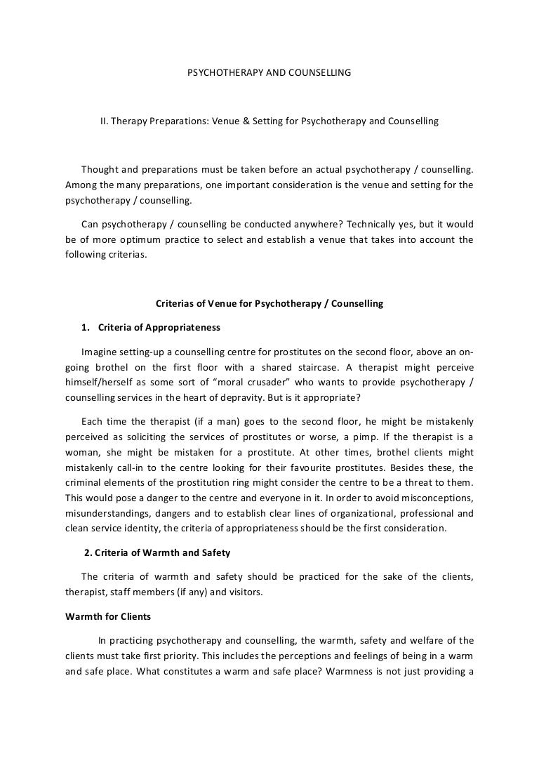 Ii therapy preparations venue & setting for psychotherapy and couns…