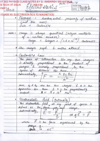 IIT JEE PHYSICS CLASS NOTES BY Er. AMBARISH SRIVASTAVA PART 4