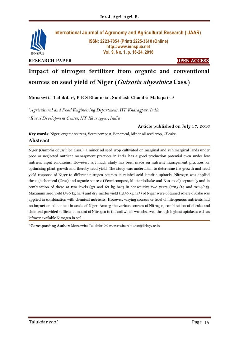 research papers about nitrogen
