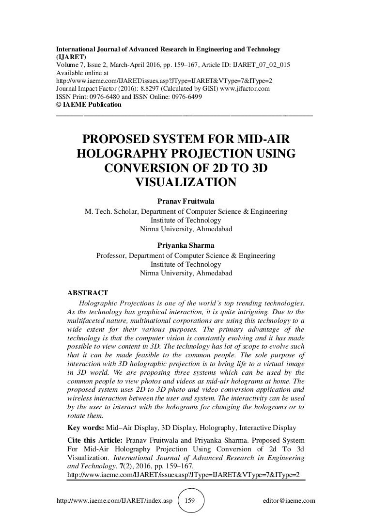 PROPOSED SYSTEM FOR MID-AIR HOLOGRAPHY PROJECTION USING CONVERSION OF…