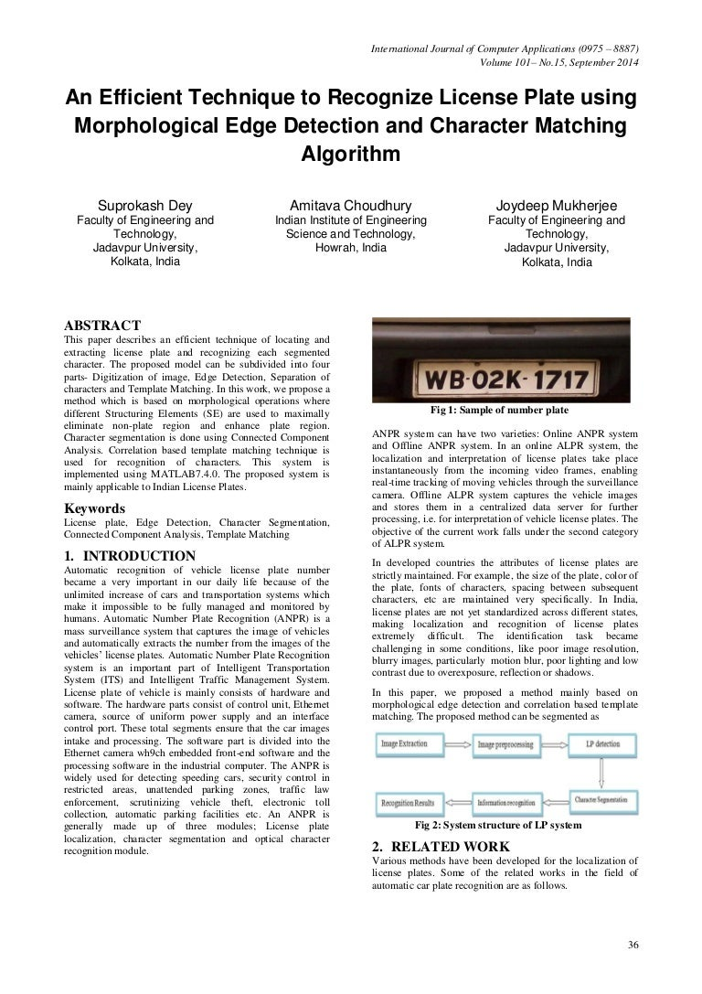License Plate Recognition Using Morphological Operation