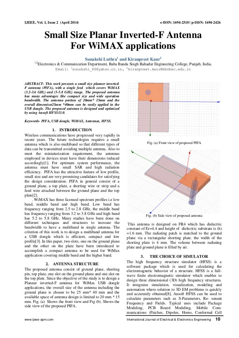 Small Size Planar Inverted-F Antenna for WiMAX Applications