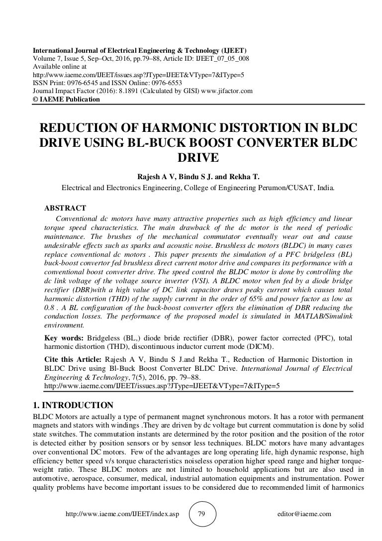 Harmonic Distortion Reduction Of Harmonic Distortion In Bldc Drive Using Bl Buck Boost Co