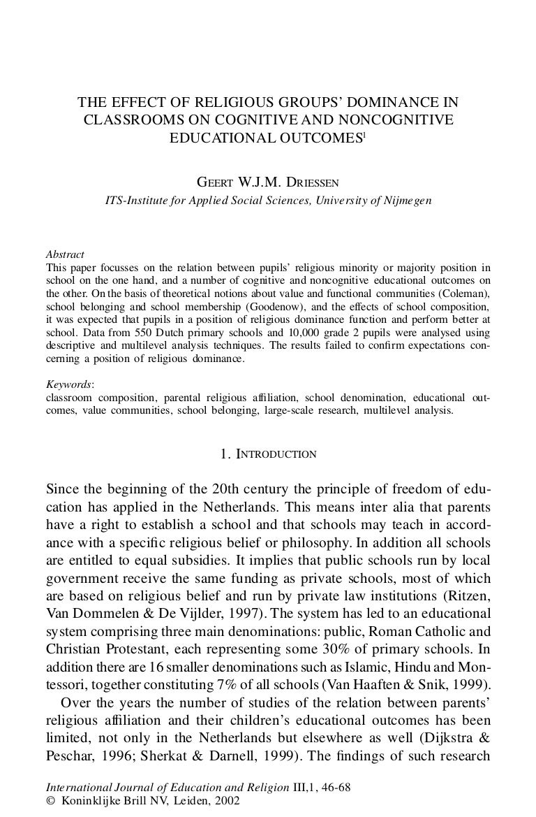 Geert Driessen (2002) IJER THE EFFECT OF RELIGIOUS GROUPS