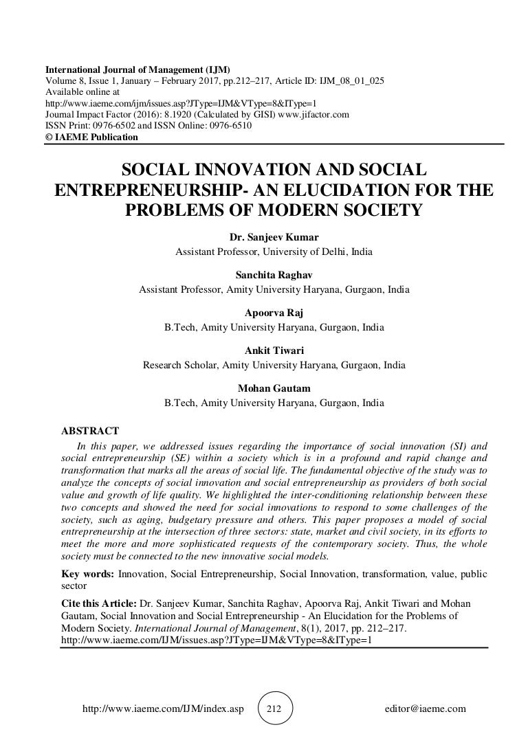 SOCIAL INNOVATION AND SOCIAL ENTREPRENEURSHIP - AN