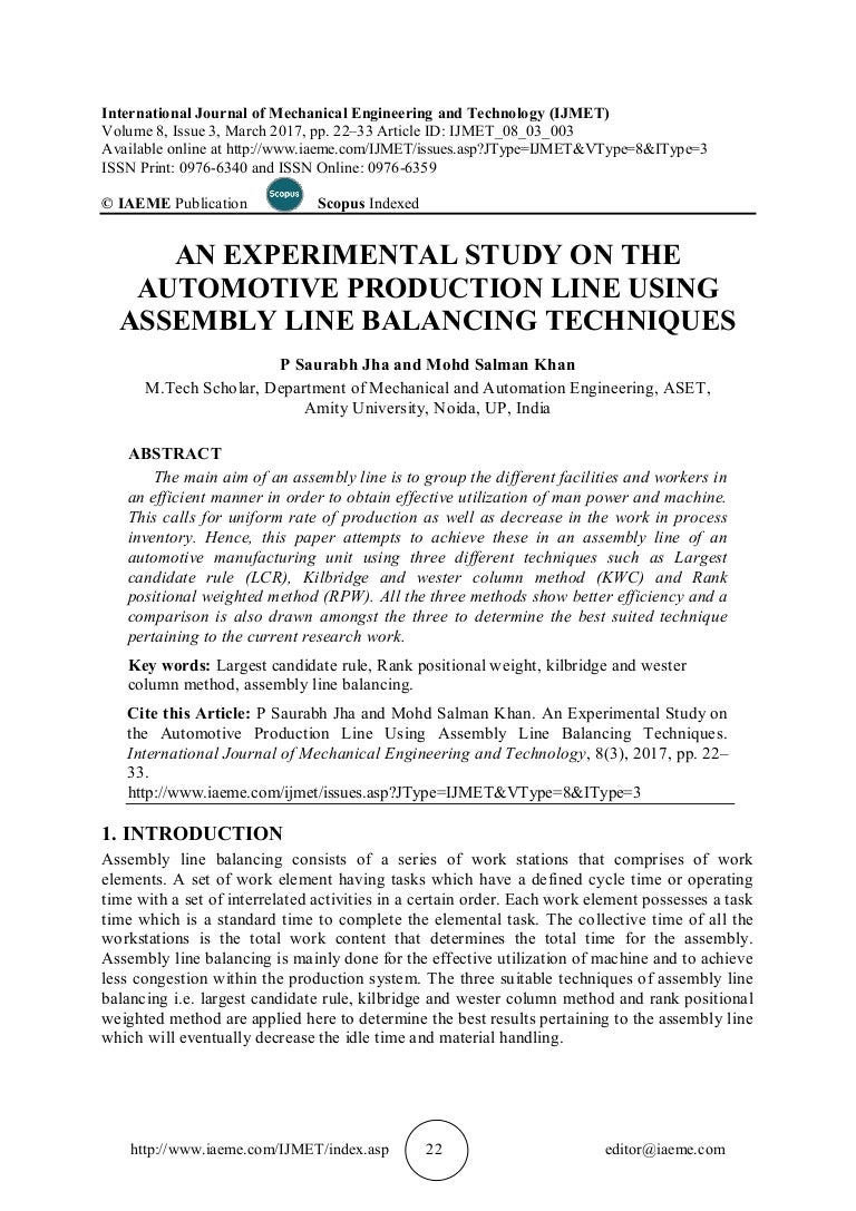 An experimental study on the automotive production line using assembl pooptronica Choice Image