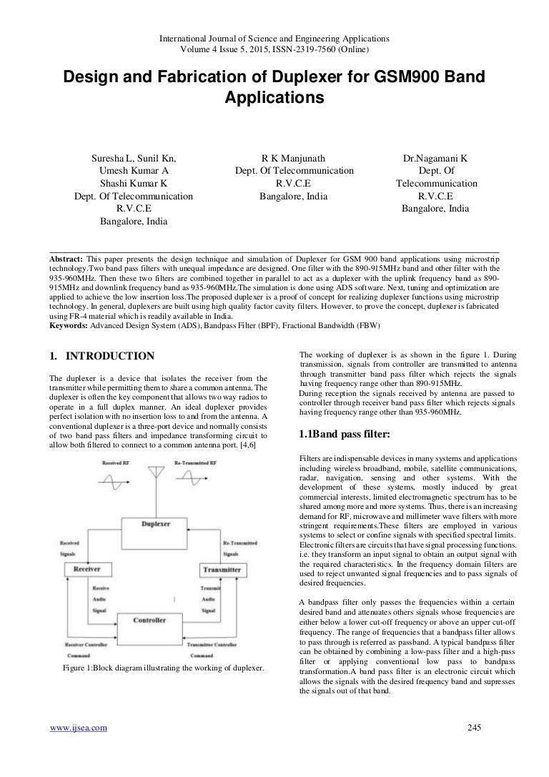 Design And Fabrication Of Duplexer For Gsm900 Band Applications Figure 1 Transmitter Block Diagram Ijsea04051002 151015161131 Lva1 App6892 Thumbnail 4cb1444925514