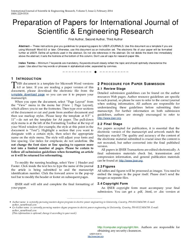 Ijser Template International Journal Of Scientific  Engineering Res
