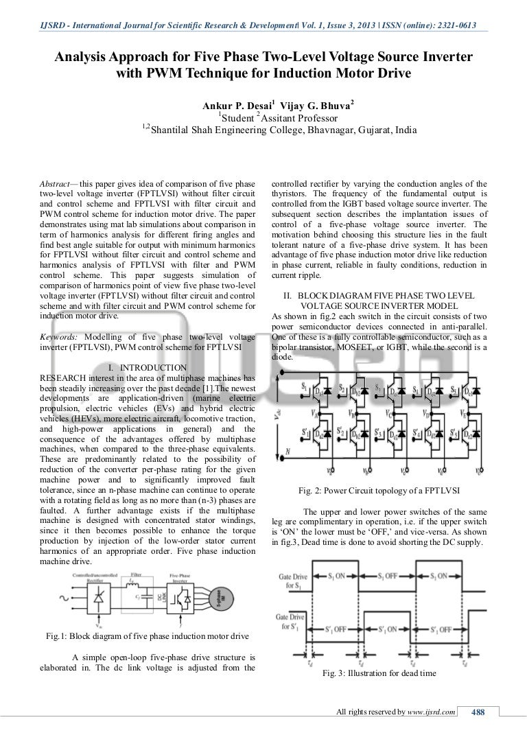 Analysis Approach For Five Phase Two Level Voltage Source Inverter Wi Circuit Diagram