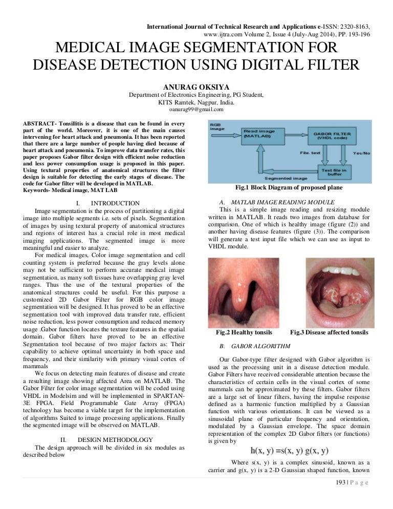 MEDICAL IMAGE SEGMENTATION FOR DISEASE DETECTION USING DIGITAL FILTER
