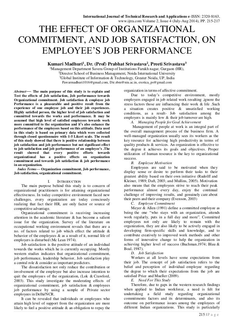 Relationship of job satisfaction and employee performance (MBA HRM Dissertation)